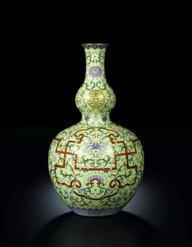 Yellow-ground famille-rose double-gourd vase, mark and period of Qianlong, from the Collection of J