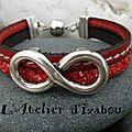 A l'infini je le veux, ce bracelet cuir rouge cousu et cuir rouge structuré pailleté et son passant infini. et vous ?