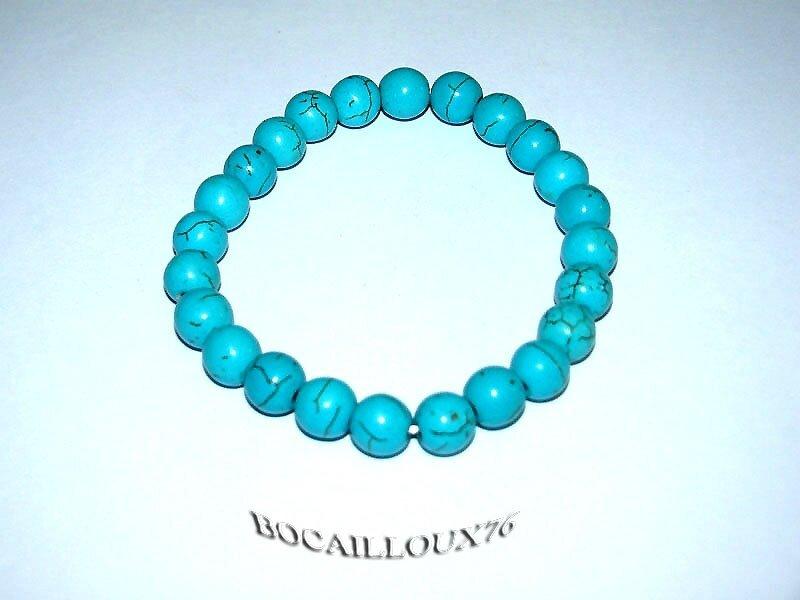 Bracelet HOWLITE Turquoise Perles 3 (3)