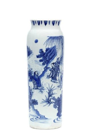 A blue and white sleeve vase, rolwagen, Chongzhen period (1627–1644)