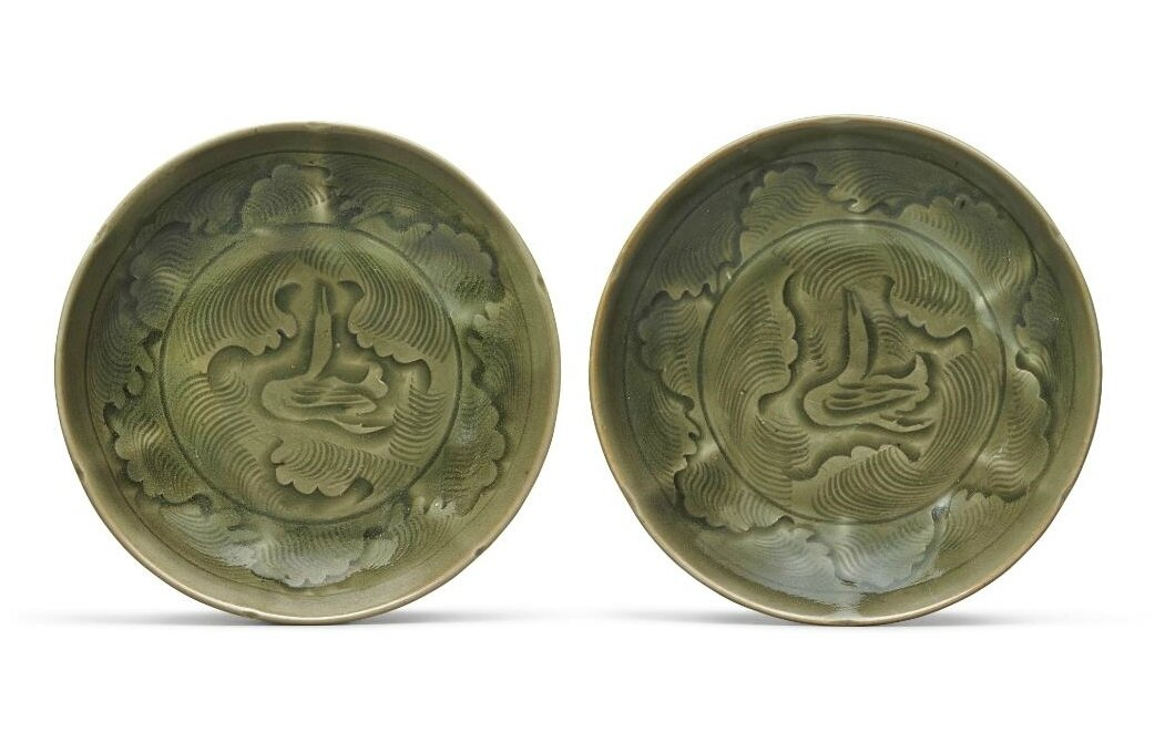 A pair of 'Yaozhou' celadon-glazed dishes, Northern Song dynasty (960–1127)
