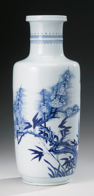A Blue And White 'Kuixing' Rouleau Vase, Qing Dynasty, Kangxi Period (1662-1722)2