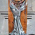 Délivrance Ghislaine Letourneur Peinture sur bois huile collage et métal - Peinture drapé main
