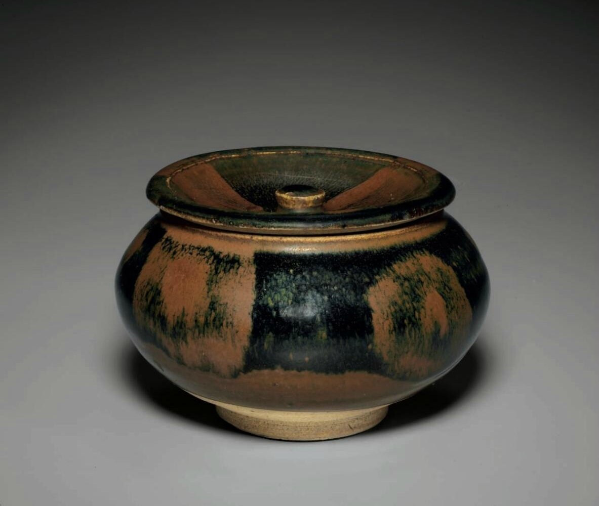 A rare russet-splashed black-glazed jar and cover, Northern Song-Jin dynasty, 12th-13th century