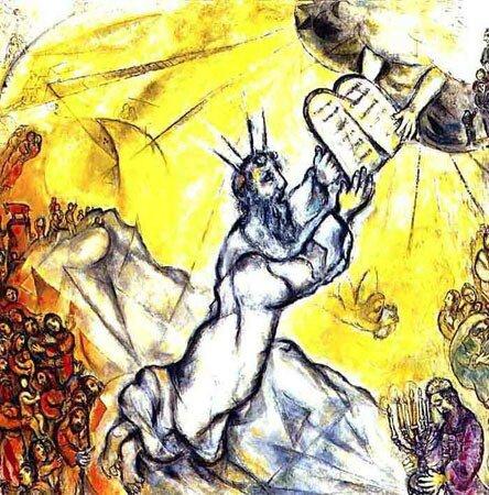 Moïse recevant les tables de la Loi, Chagall
