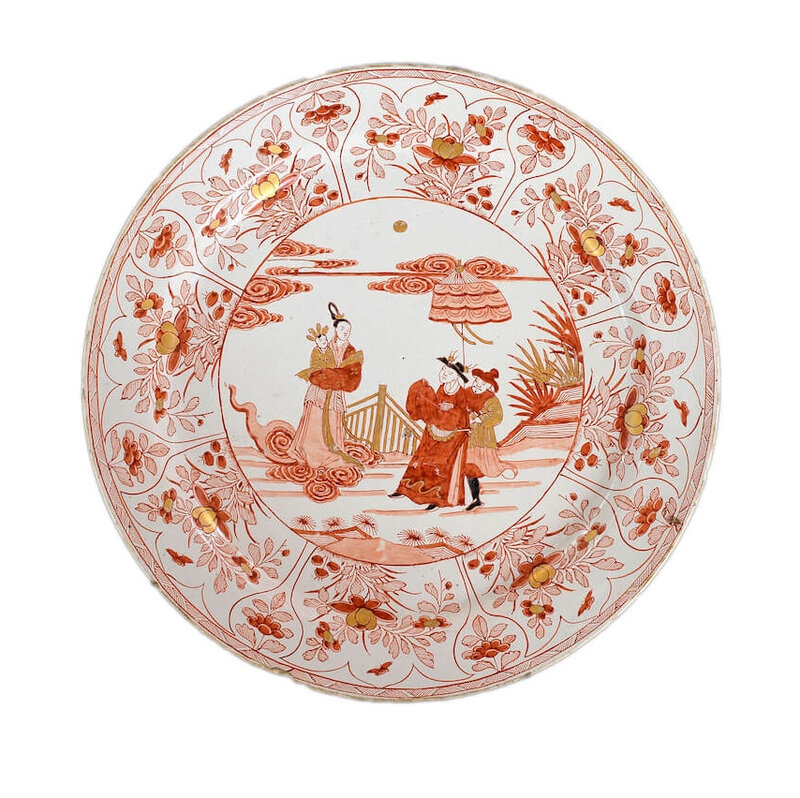 Polychrome and Gilded Large Dish, Delft, circa 1710