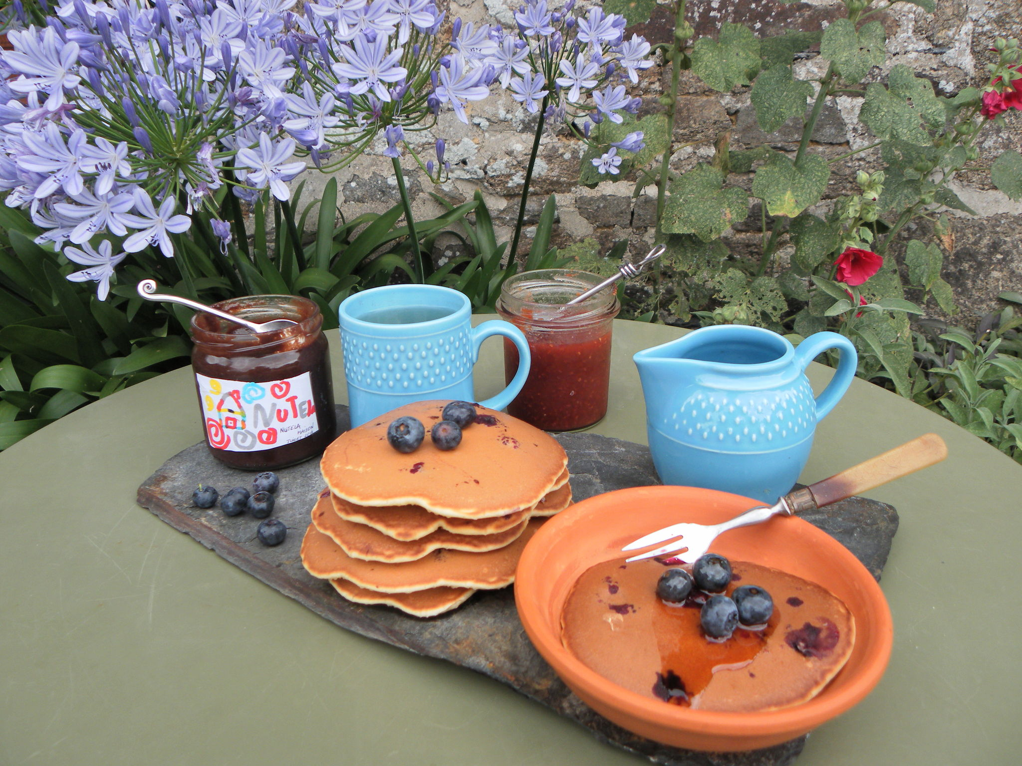 Pancakes aux myrtilles : la vie en Rose