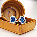 Pair of sapphire and diamond earrings, bulgari