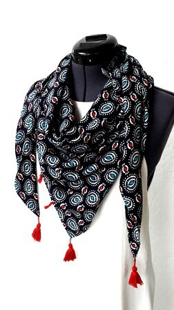 chèche fond noir motifs turquoise et rouge pw