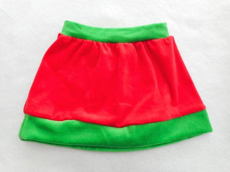 Bonnet jupe lutin Noël 6-9 mois jupe dos
