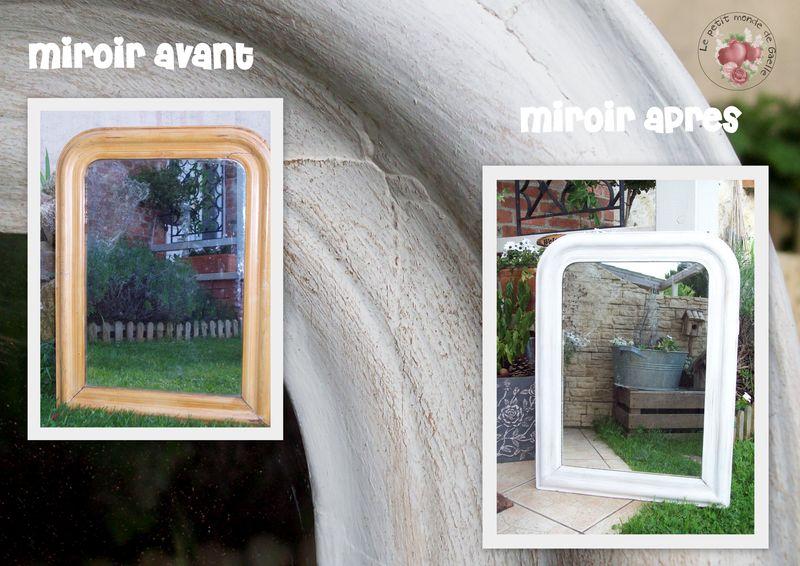 Grand miroir chiné avant / après