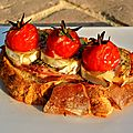 Bruschetta jambon blanc, chèvre et tomates cerises
