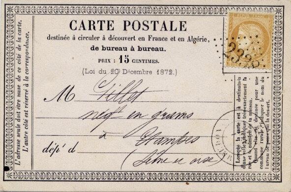 Carte postale officielle de 1874 Recto Wikipédia