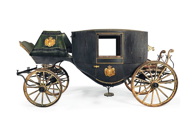 A Royal Saxon Brass-Mounted Parcel-Gilt and Black-Painted Town Coach