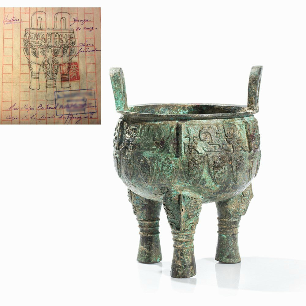Bronze Ritual Tripod Vessel Ding, China, presumably late Shang-early Western Zhou dynasty (12th-10th cent