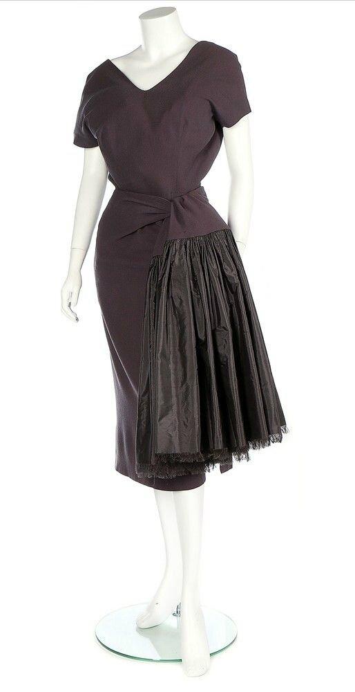 A Balenciaga couture grey moss crêpe dinner dress, 1953