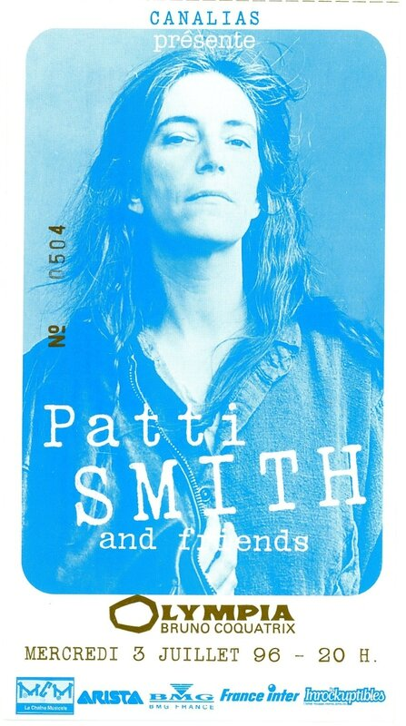 1996 07 Patti Smith Olympia Billet