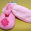 chaussons fille rose fleurs rose