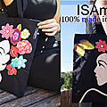 Tote bag sac noir multicolore visage fleurs made in france
