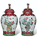 A massive pair of ruby and famille rose jars and covers, yongzheng period (1723-1735)