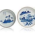 A group of two Vietnamese 19th century 'Bleu de Huê' saucers with figures and poems, Nôi Phu and Ngoan Ngoc marks