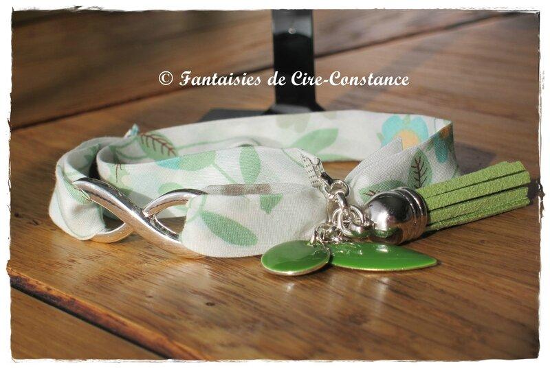 Parure Bo nacres bracelet Infini Mirabelle vert-2