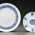 A blue and white 'shou'-character dish, daoguang six-character seal mark in underglaze-blue and of the period (1821-1850)