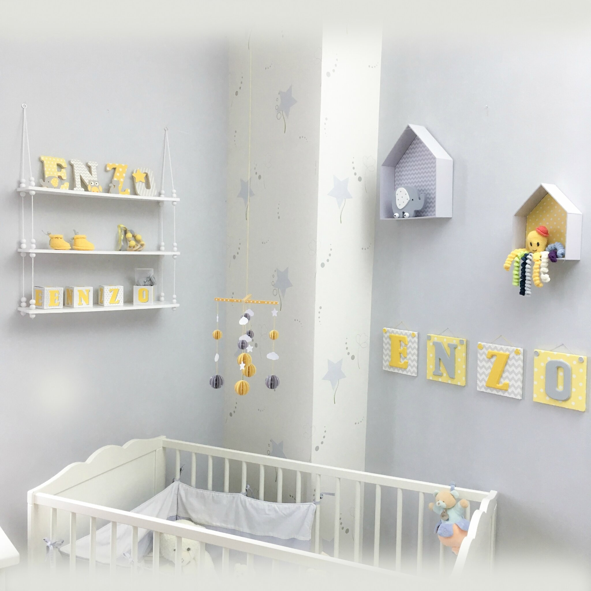 d233co chambre denfant collection jaune et gris