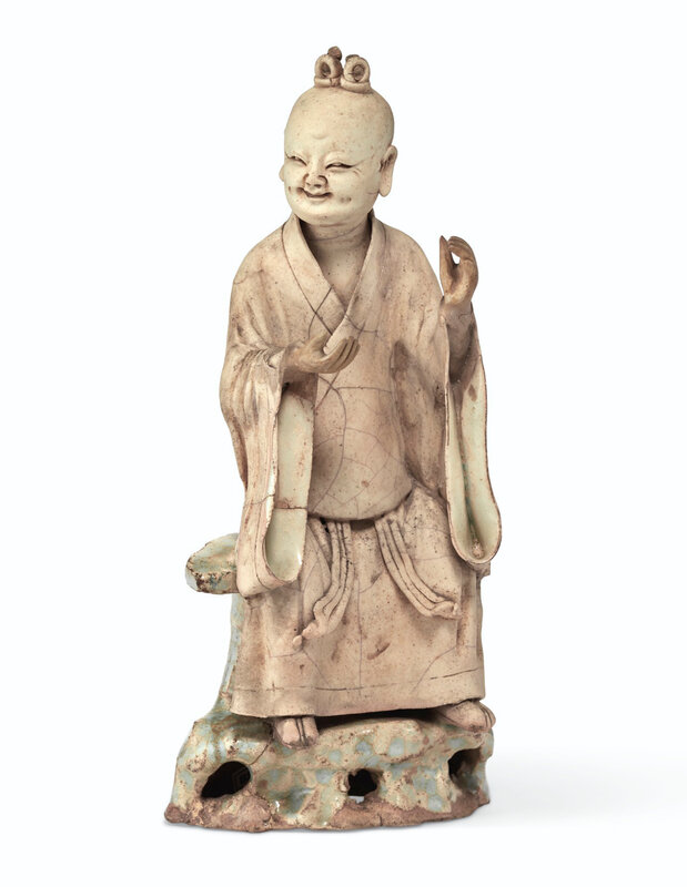 A rare qingbai partially-glazed figure of a Daoist sage, Southern Song dynasty, 13th century