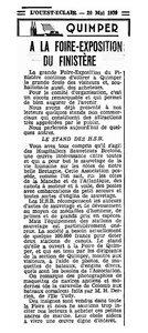 CH15 - Presse OE du 20-05-1939 - HSB à la foire-exposition à Quimper