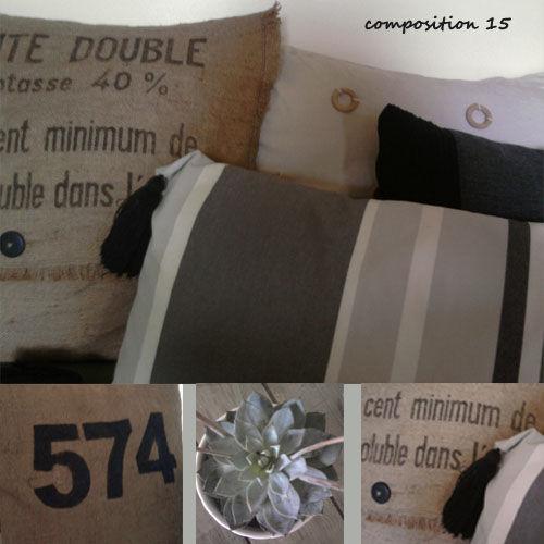 coussins fait maison toile de jute coton et un jour un objet. Black Bedroom Furniture Sets. Home Design Ideas