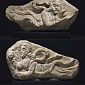 Two rare sandstone wall fragments of apsaras, song-early ming dynasty, 10th-14th century