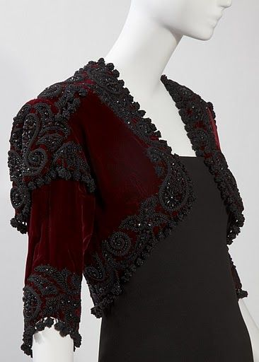Cristobal Balenciaga. Evening bolero jacket of burgundy silk velvet and jet and passementerie embroidery by Bataille, winter 1946. Collection of Hamish Bowles. Photo by Kenny Komer