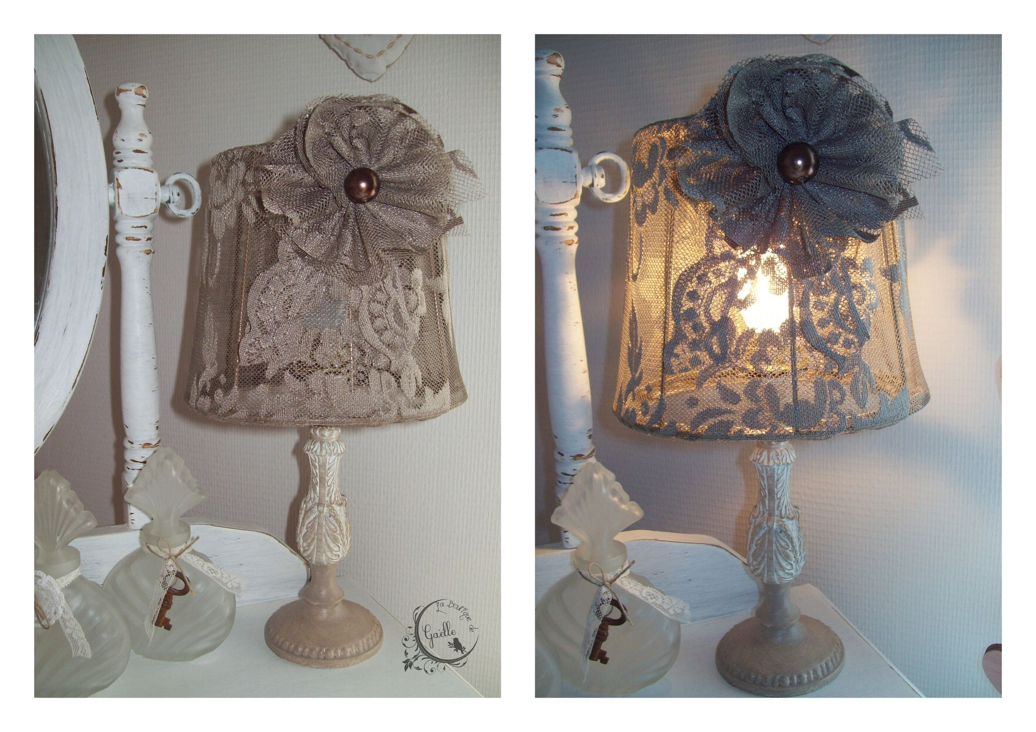 Lampe dentelle taupe...