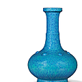A fine robin's egg-glazed bottle vase, qing dynasty, 18th century