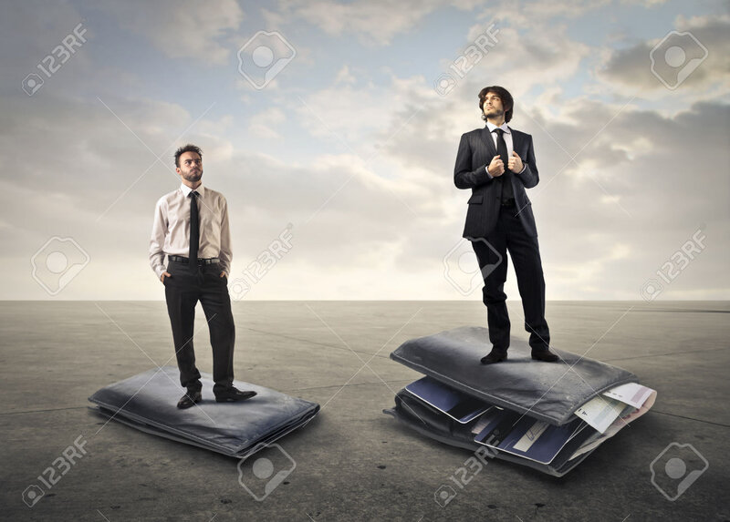 44118128-Two-businessmen-standing-on-a-flat-and-a-full-wallet-Stock-Photo