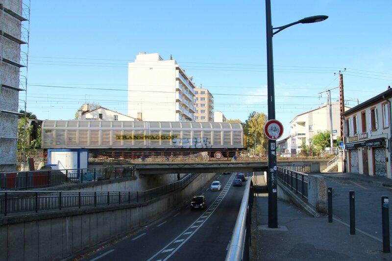 Train de marchandise sortant de la gare Saint-Agne