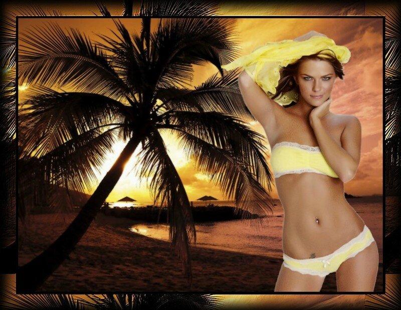 coucher soleil et femme en jaune