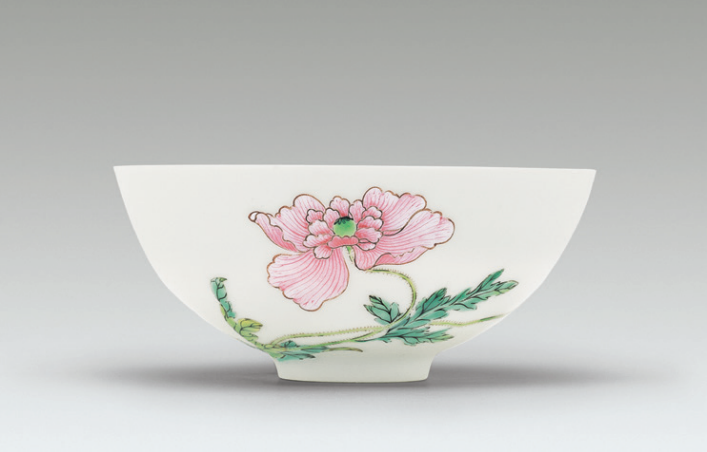 A fine and rare famille rose 'poppy' bowl, Yongzheng mark and period