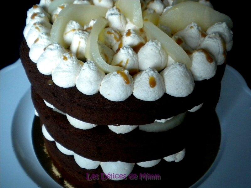 Naked cake chocolat, poires et caramel au beurre salé 6