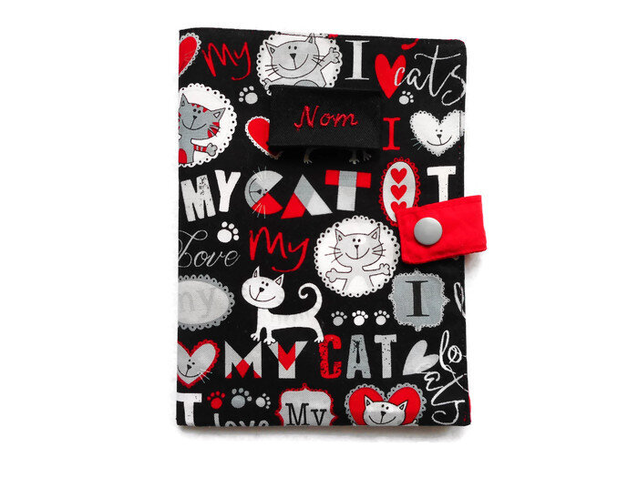 Protge_carnet_new_love_my_cat_rouge_gris_face