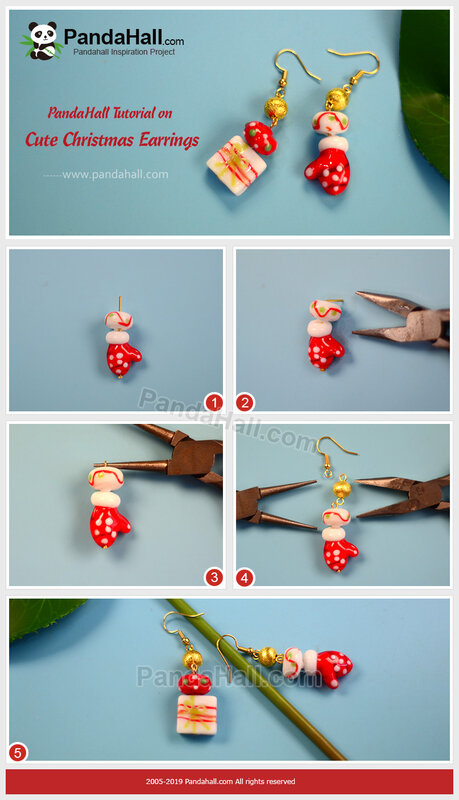 1-PandaHall-Tutorial-on-Cute-Christmas-Earrings