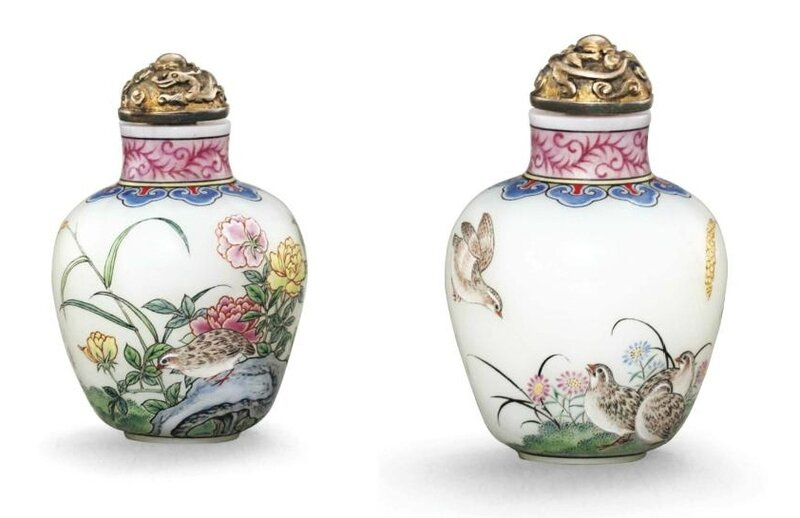 A very rare and finely enamelled glass 'quails' snuff bottle, Imperial, Palace Workshops, Beijing, Qianlong four-character mark in blue enamel and of the period (1736-1795)