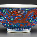 A green-glazed and iron-red-decorated underglaze blue-ground 'dragon' bowl, kangxi six-character mark and of the period