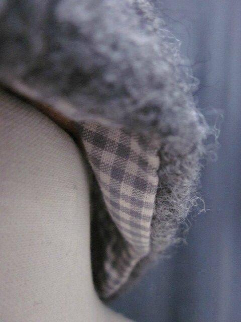 Chapeau AGATHE en laine bouillie gris moyen chiné - Doublure coton vichy gris et écru - taille 58 (1)