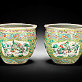 A large pair of famille verte yellow-ground jardinières, guangxu period (1875-1908)