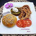 Hamburger destructuré au aiguillettes de poulet et filets de poivron