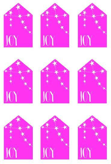 Etiquette joy etoiles rose vif