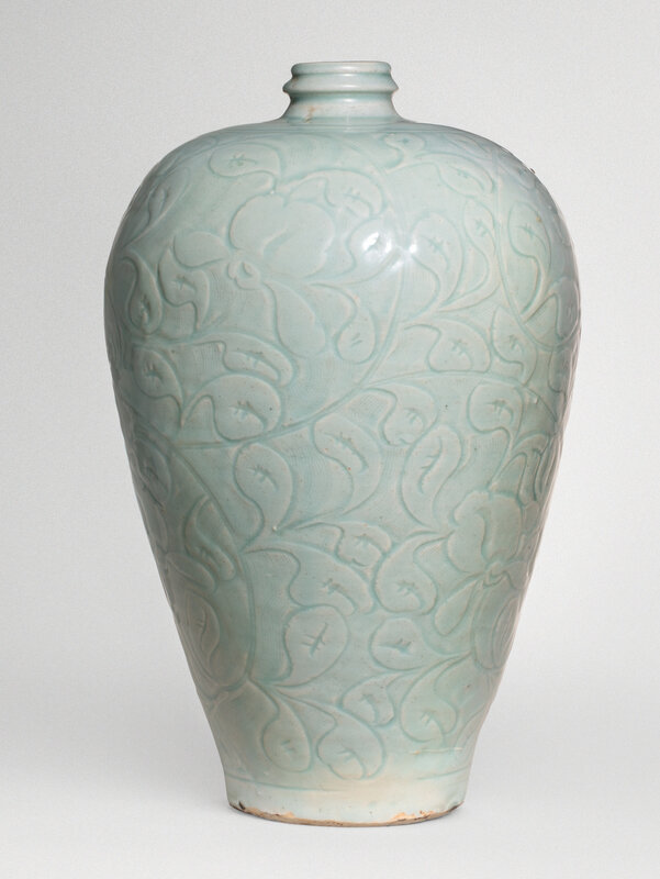 A large and superbly carved qingbai 'Lotus' meiping, Southern Song dynasty (1127-1279)