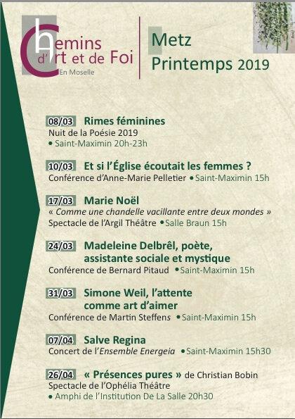 Chemins d'Art et de Foi Printemps 2019